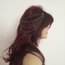 wedding photo - Wedding headpiece, Bridal hair accessory, black crystal,headpiece, Wedding hair chain, Bridal hair chain , silver  style headpiece