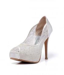 wedding photo - Trailblazer, Ivory Lace Wedding Shoe, Peep Lace Satin Wedding Heels, Ivory White Bridal Shoes, White Wedding Shoes
