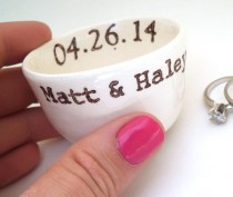 wedding photo - CUSTOM RING DISH personalized date names initials wedding ring pillow ring holder candle holder wedding gift idea engagement gift idea