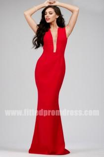 wedding photo - 2015 Floor Length Jovani 26312 Red Fitted Prom Dresses
