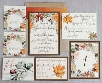 wedding photo - Autumn Foliage Watercolor Wedding Invitation Antique Gold Fall Leaves Acorns Rustic