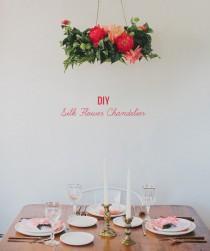 wedding photo - DIY: Silk Flower Chandelier
