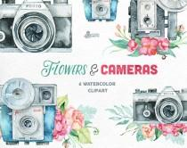 wedding photo - Flowers & Cameras. 6 Handpainted clipart, invitation, photocamera, quote, wedding, boho, retro, floral bouquets, diy