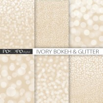 wedding photo - Ivory glitter bokeh digital paper beige white tan cream background textures sparkle pearl glamour wedding invitation card party supplies