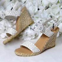 wedding photo - Superlative Wedding Shoes Beach Womens Size 8 - Beach Wedding Accessories - Party Accessories - Chunky Womens Shoes - Womens Wedge Sandals
