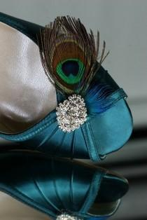 wedding photo - Wedding Shoes - Wedge - Peacock Shoes - Teal Blue - Peacock Wedding - Dyeable Choose From Over 100 Colors - Wedding Wedge Shoe With Feathers