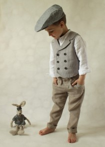 wedding photo - Ring bearer outfit Wedding party outfit Toddler boy vest and pants Boys linen suit Double breasted vest Photo prop