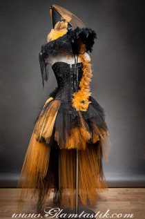 wedding photo - Private Listing For Heathergarvey Custom Size Orange And Black Feather Burlesque Corset Witch Costume With Hat