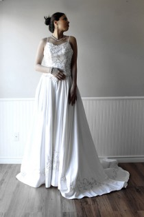 wedding photo - CLEARANCE Pure White Satin Wedding Dress Bridal Gown with Hand Beaded Bling and Embroidery Details, Sample sale 80% off