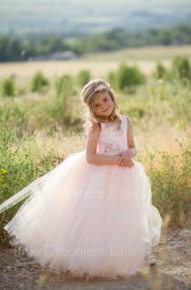 wedding photo - NEW! The Juliet Dress in Pink Blush with Flower Sash - Flower Girl Dress