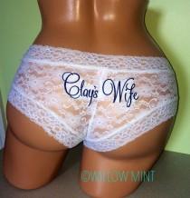 wedding photo - Monogram bridal cheeky underwear; monogram wedding panties; personalized lace underwear; something blue; custom bridal underwear