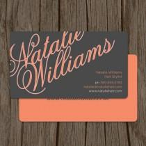 wedding photo - Elegant Name Modern Hair Stylist Business Card / Mommy Card / Calling Card - CUSTOMIZE Colors And Content
