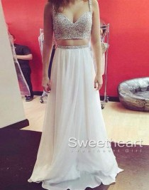 wedding photo -  http://sweetheartgirl.storenvy.com/collections/172363-prom-dresses/products/14040828-white-a-line-sequin-2-pieces-long-prom-dress-evening-dresses