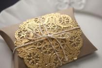 wedding photo - Set Of 10 Brown Kraft Pillow Boxes