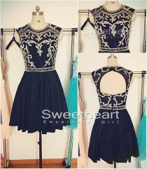 wedding photo -  Black A-line Sequin Short Prom Dress, Homecoming Dress from Sweetheart Girl
