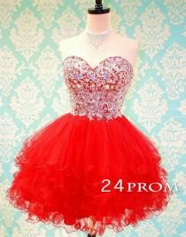 wedding photo -  Sweetheart Ball Gown Red Rhinestone Short Prom Dress, Homecoming Dress - 24prom
