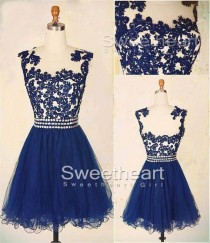 wedding photo -  A-line Navy Blue Lace Short Prom Dress, Homecoming Dress from Sweetheart Girl