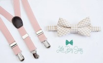 wedding photo - Beige Checkered Bow Tie with Blush Suspenders..Kids Clothing..Bow tie and Suspenders Set..Boys wedding outfit..Ring Bearer Outfit
