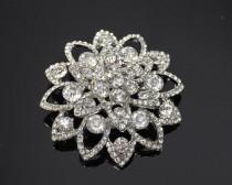 wedding photo - 1 Pc Crystal rhinestone Brooch in Silver Good for brooch bouquets DIY weddings, DIY hair pieces, Bridal Accessories, Embellishment