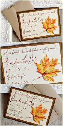 wedding photo - Autumn Foliage Watercolor Save The Date Cards Rustic Wedding Fall Leaf