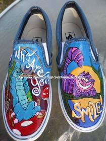wedding photo - Custom Painted shoes of your choice. Disney, Pixar, bands, weddings, Princess, Villains, Horror by SeriouslySavage Vans Toms Converse