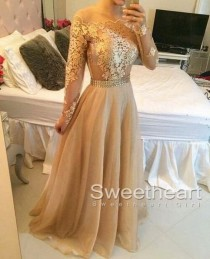 wedding photo -  Champagne A-line Lace Long Prom Dress, Formal Dress from Sweetheart Girl
