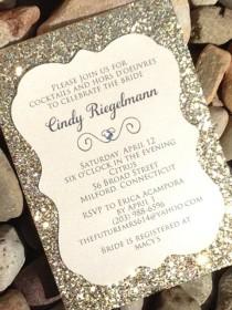 wedding photo - Bridal Shower Invitation - 25 Glitter Bridal Shower Invitations, Engagement Announcement, Wedding Invitations, Gold, Silver, Die-Cut Invite