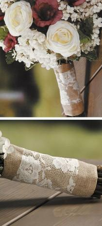 wedding photo - Burlap & Lace Bouquet Wrap