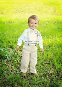 wedding photo - Linen Ring Bearer Outfit, 3 Piece Set, Ring Bearer Bowtie, Suspenders, and Pants. Wedding Outfit for Ringbearer