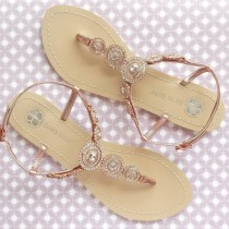wedding photo - Bohemian Boho Chic Wedding Sandals with Rose Gold Round Crystals Jewels Bridal Thong Shoes Destination Beach Wedding Something Blue