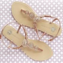 wedding photo - Bohemian Boho Chic Wedding Sandals with Rose Gold Round Crystals Jewels Bridal Thong Shoes Destination Beach Wedding Something Blue