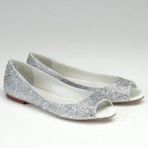 wedding photo - Flat Wedding Shoes- Open Toes-  Silk Flat Bridal Shoes with Austrian crystals- Halle