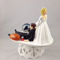 wedding photo - Funny Wedding Cake Topper Football Themed Carolina Panthers Unique and Humorous Cake Toppers - Perfect Handmade Groom's Cake Toppers
