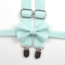 wedding photo - Mint Seersucker Bow Tie & Suspenders, mint stripe bow tie, mint bowtie, mint suspenders, seafoam suspenders, ring bearer outfit, Grayed Jade