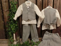 wedding photo - Grey boys linen suit. Grey ring bearer outfit, boys suit. Toddler boy formal wear. Linen pants and vest, cotton shirt. Boys wedding attire