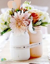 wedding photo - Painted Mason Jar Centerpiece