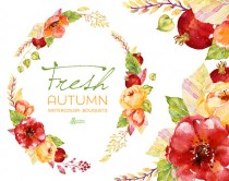 wedding photo - Fresh Autumn Bouquets & wreath. Handpainted watercolor clipart, wedding invitation, floral frame, greeting, diy, pomegranate, flowers