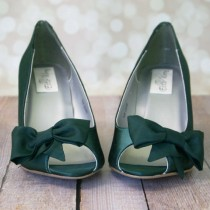 wedding photo - Wedge Wedding Shoes -- Pine Green Peep Toe Wedge Wedding Shoes with Off Center Matching Bow on the Toe