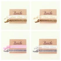 wedding photo - YOU CHOOSE Bridal Hair Tie Favor // Bride Hair Tie Gift, Sparkle Glitter Bride Bridal Wedding Shower Bachelorette Party Hair Ties, The Bride