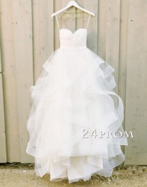 wedding photo -  White Sweetheart Tulle Long Wedding Gown,Bridal Dress - 24prom