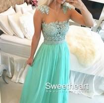 wedding photo -  Green A-line round neckline Lace Chiffon Long Prom Dresses, Formal Dress from Sweetheart Girl