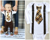 wedding photo - Baby Boy Personalized Tie and Suspenders Bodysuit. Birthday Outfit Cake Smash  Winter Wedding Ring Bearer Suspender Fall Thanksgiving Plaid