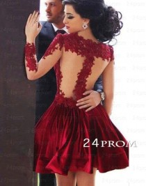 wedding photo -  Red A-line Short Lace Prom Dresses, Homecoming Dresses - 24prom