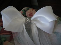 wedding photo - First Communion/Flower Girl  White Satin Bow with Rhinestones with an edged White Veil  NEW