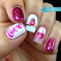 """wedding photo - """"Owl Love"""" Nail Art With Water Decals (Chickettes)"""