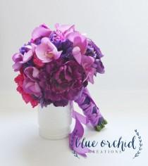 wedding photo - Purple And Fuchsia Bridal Bouquet With Orchids - Vibrant Wedding Bouquet, Purple Bouquet