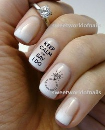 wedding photo - Wedding Nail Art Water Decals/ Water Transfers I Do Nails Wedding Ring KN004
