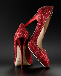 wedding photo - Jimmy Choo Red Sparkle Pumps. My Wedding Shoes. Count On It.