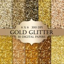 wedding photo - Gold glitter digital paper -  Glitter gold, Scrapbooking Digital Paper, gold textures, glitter backgrounds, gold sparkle for invitations