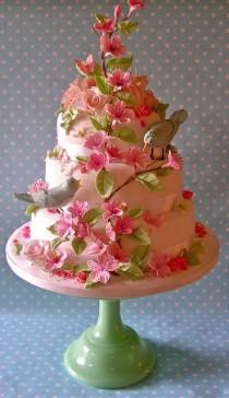 wedding photo - Photo: Pastel Bird And Blossom Wedding Cake